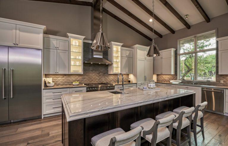 kitchen with white granite countertops
