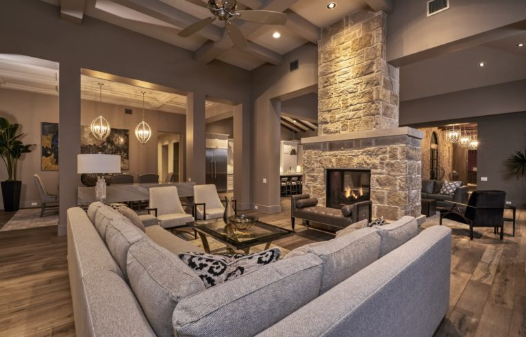 large living area with see through fireplace
