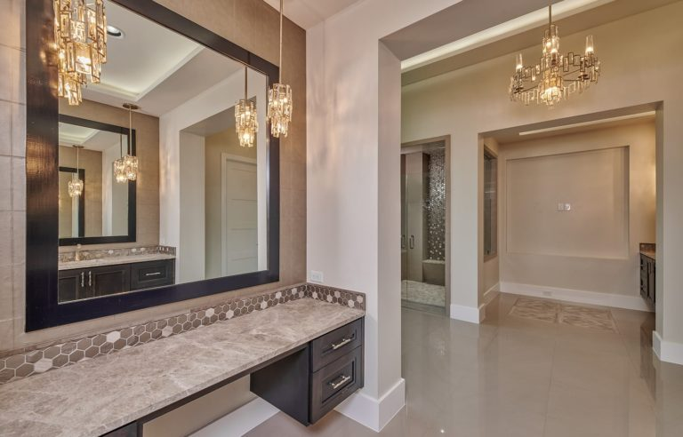 vanity in a master bathroom